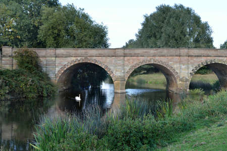 18th century: Kegworth road bridge over the River Soar on the Nottinghamshire - Leicestershire county border  The bridge was built in the late 18th century and was fully restored and widened in 1937   Stock Photo