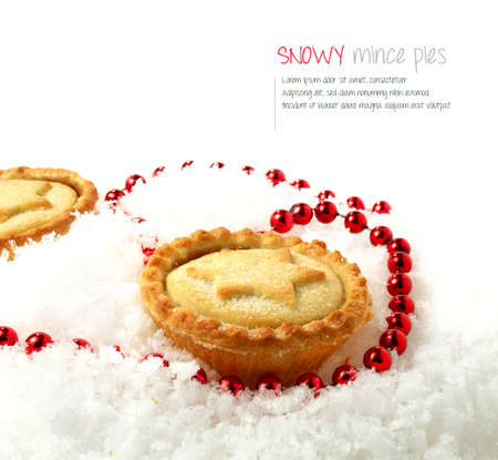 Seasonally festive mince piece nestled deep in fresh snow. The perfect image for a Christmas or Thanksgiving menu cover. photo