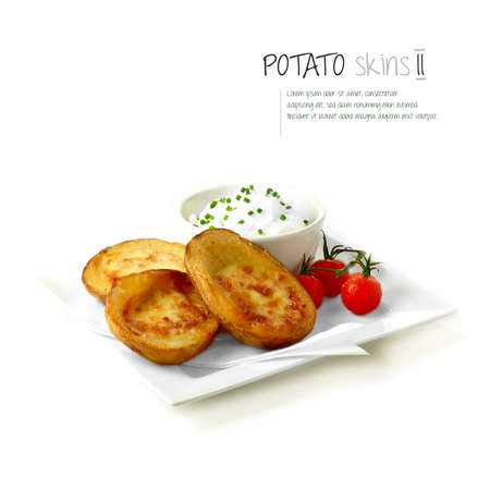 Freshly grilled bacon and cheddar cheese potato skins with soured cream and cherry tomatoes against white.