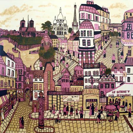 An original abstract painting of Parisian street scenes, Paris, France. photo