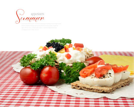 Tasty fresh summer snacks on a table setting  Copy space  photo