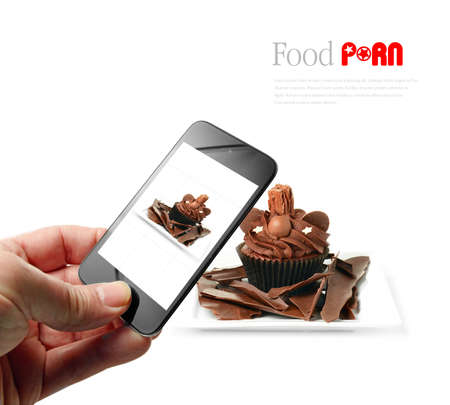 foodies: Someone taking a food selfie with a mobile device