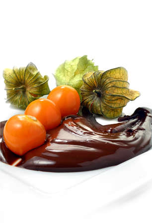 physalis: Fresh Physalis fruits in melted chocolate against a white background  The perfect image for a gourmet dessert menu design  Copy space  Stock Photo
