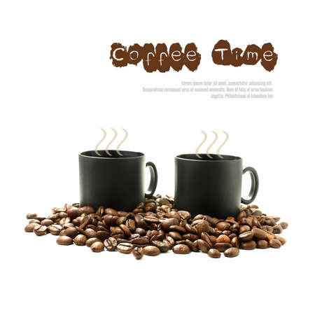 Concept image for coffee time  Combined photograph and vector montage with copy space   photo