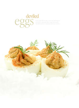 hard boiled: Fresh deviled eggs, also known as curried eggs, with dill garnish in snow. The perfect image for your restaurant menu cover design. Copy space.