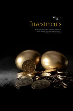 Concept image for pensions and investments. Creatively lit currency coins and golden eggs symbolising investment. Copy space.