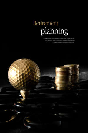 Concept image for retirement planning. Creatively lit golden golf ball and golden coins representing client investments. Copy space. Stock Photo