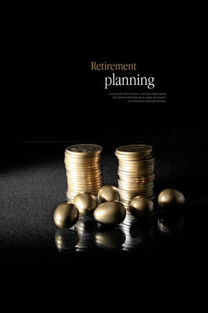 Concept image for retirement planning. Creatively lit golden eggs with stacked coins representing client investments. Copy space. Standard-Bild