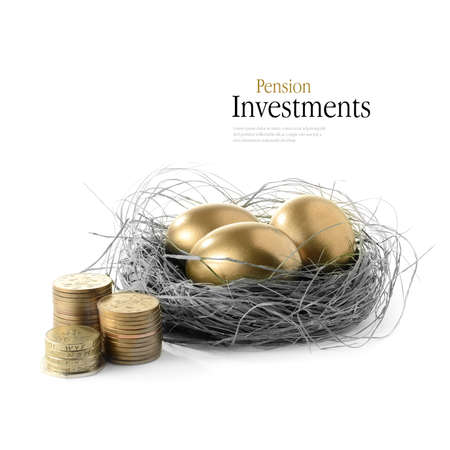 Golden goose eggs placed in a authentic looking grass nest against a white background with the image coloured bronze and greyscale. Concept image for pension savings and investments. Copy space. Stock fotó - 32838415