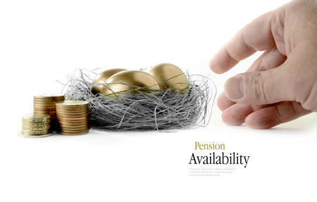 Golden goose eggs placed in a authentic looking grass nest against a white background with hand reaching. Concept image for pension savings and investments availability. Copy space. Standard-Bild