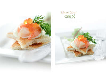 roe: Delicious salmon caviar and shrimp canape against white. Macro and standard views. Copy space.