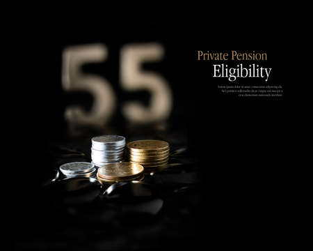 eligibility: Concept image for eligibility of private pension funds release at the age of 55 years. Copy space.