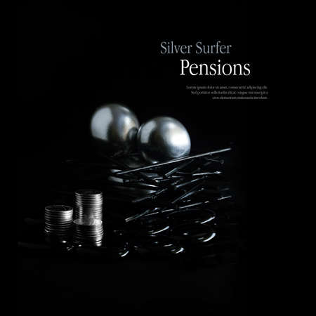 silver surfer: Concept image for pension changes for over 55s in the UK commencing April 5, 2015 allowing full access to private pensions. Copy space. Stock Photo