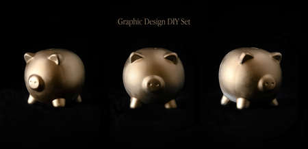 A generic gold piggy bank against a dark background as a blank template for your own design customization. Three seperate views.