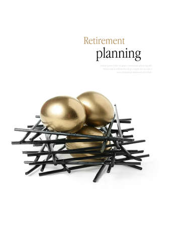 Concept image for pension planning Golden goose eggs in a stark wooden birds nest against a white background. Copy space.