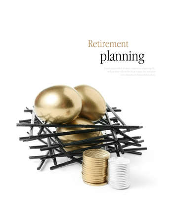 Concept image for pension planning Golden goose eggs in a stark wooden birds nest with stacked coins against a white background. Copy space.