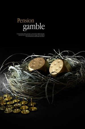 Concept image for pensions at risk. Creatively lit gold dice replacing gold eggs in a birds nest with sharp gold tacks against black. Copy space.