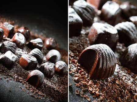 liqueurs: Creatively lit dark chocolate liqueurs dual image montage against a dark background. Copy space.