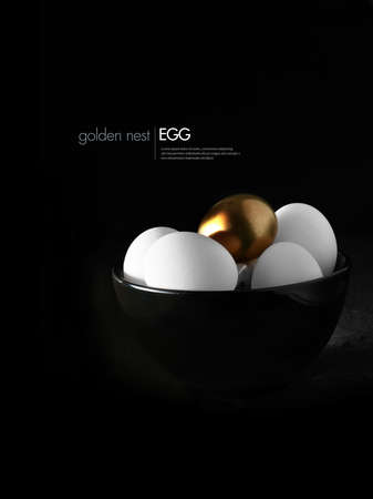 Concept image for pension fund or pension investments. Multiple white eggs with one highlighted gold egg against a dark background. Copy space. Stock Photo