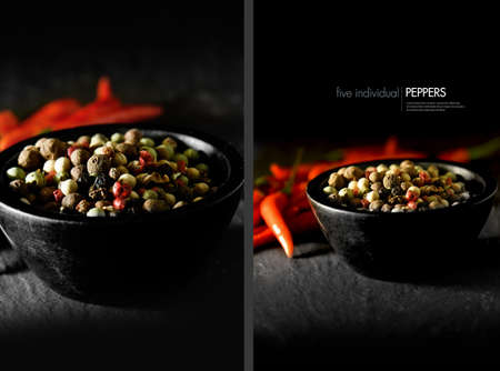 pepernoot: Dual image of five pepper spices with red bird eye chillies in . Concept image for cooking with spices. Copy space. Stock Photo