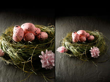 dual: A different style of concept image for Easter. Dual images of pink speckled bird eggs in a grass nest against a dark background. Copy space. Stock Photo