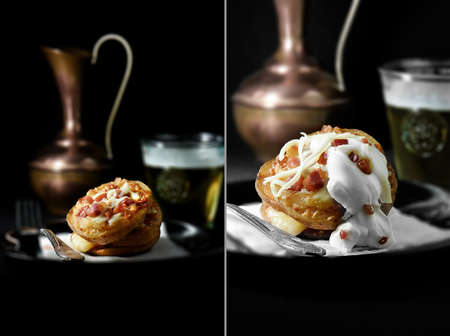 soured: Dual images of loaded potato skins with grated mozzarella cheese and bacon and also smothered in soured cream. The perfect image for a bistro or restaurant menu and advertisement. Copy space.