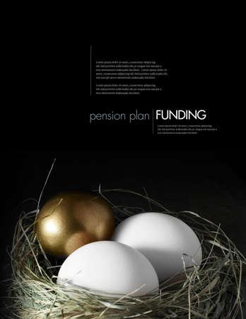 nido de pajaros: Imagen conceptual de la gestión financiera de pensiones activo mixto. Mezcla Oro y los huevos de gallina blanca en un nido de pájaros hierba contra un fondo negro. Copiar el espacio.