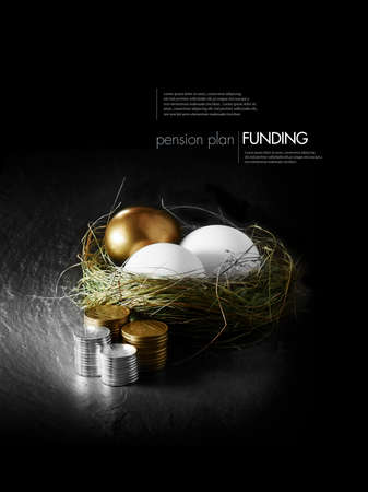 Concept image for mixed asset pension financial management. Mixed gold and white goose eggs in a grass birds nest with stacked coins against a black background. Copy space.