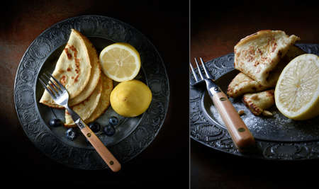 creatively: Creatively lit dual aerial image and close up of lemon pancakes with blueberries against a dark background. Concept image for Easter or Mothers Day.