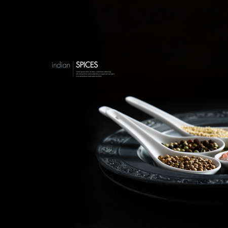 Creatively lit image of common Indian cooking spices against a black background. Concept image for Indian cuisine. Copy space.