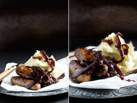 Dual image of sausages with caramelised onions against a rustic background. Perfect for a restaurant or bistro menu cover image. Copy space. photo