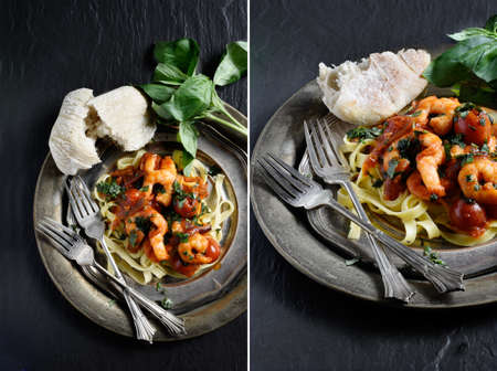 seafood salad: Dual image of creatively lit grilled chilli and chopped garlic Atlantic prawns with basil and pasta with cherry tomatoes. Perfect restaurant or bistro menu image. Copy space.