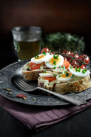 cress: Open egg and cress sandwich with farmhouse loaf with cranberries