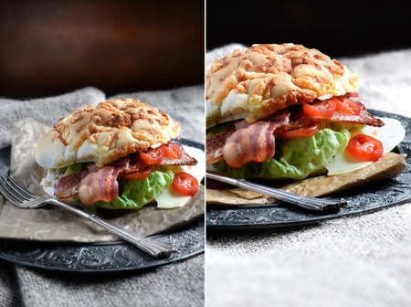 dual: Dual image montage of a bacon, lettuce and tomato sandwich, the Ultimate BLT, with added cheese. The perfect images for your restaurant or bistro menu designs. Copy space.
