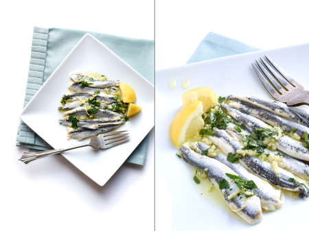 european anchovy: Dual Image of fresh Boquerones against a light background with garlic, parsley and extra virgin olive oil. Styled in white with generous copy space. The perfect image for your seafood menu cover design.
