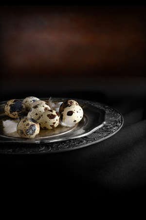 lit image: Creatively lit concept image for pension funding and return on investments. Quails eggs and feathers on an antique pewter plate against a dark background. Copy space.