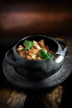 indian food: Creatively lit bowl of cooked Indian chicken curry with coriander garnish against a rustic background with copy space. The perfect image for your indian menu cover design.