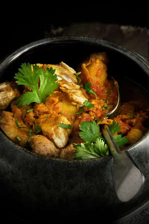 indian food: Creatively lit bowl of cooked Indian chicken curry with coriander garnish against a rustic background. The perfect image for your indian menu cover design. Stock Photo
