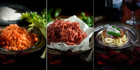 individually: Series of three images showing cooking ingredients for a classic Italian Spaghetti Bolognese shot in a rustic setting against a dark background. Images can easily be cropped and selected individually.