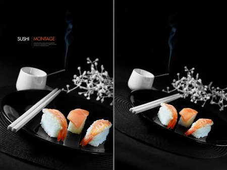 chop sticks: Dual montage of fresh Japanese sushi with chop sticks, burning incense and white flowers against a black background. Generous accommodation for copy space. Stock Photo