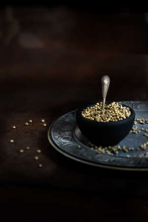 accommodation space: Selective focus, creatively lit still life of dried cilantro seeds against a rustic background. Concept image for Indian cooking. Generous accommodation for copy space. Stock Photo