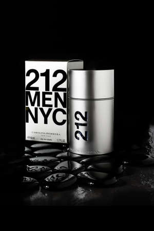 aftershave: NOTTINGHAM, UK - DECEMBER 26, 2015: Mens fragrance by the designer house of Carolina Herrera, 212 NYC Homme Eau De Toilette Spray 50ml.