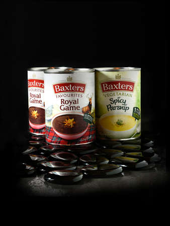 favorite soup: NOTTINGHAM, UK - DECEMBER 26, 2015: Baxters is an international food company, based in Fochabers, Moray, Scotland. Baxters is best known for canned soups, made to unique recipes, such as Royal Game.