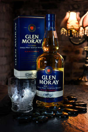 distilled: NOTTINGHAM, UK - JANUARY 11, 2016: Glen Moray single malt whisky has been distilled on the banks of the River Lossie since 1897, just outside Elgin, one of Scotlands oldest towns.
