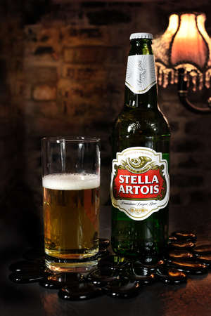 introduced: NOTTINGHAM, UK - JANUARY 12, 2016: Bottle of Stella Artois 4.8% ABV  lager beer. Stella was introduced in 1926 in Belgium. Editorial