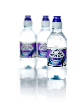consolidated: NOTTINGHAM, UK - MARCH 26 2016: Highland Spring is a Scottish supplier of bottled water. It produces still and sparkling water at its factory in Blackford, Perth and Kinross and consolidated its 1st place position in the UK still water market.