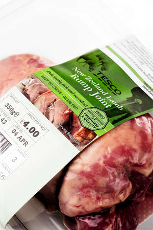 labelling: NOTTINGHAM, UK - MARCH 29, 2016: The Compulsory Meat Labelling Scheme rules apply to anyone selling or supplying fresh or frozen beef or lamb anywhere in the supply chain. Editorial