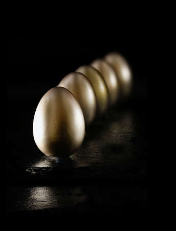 accommodation space: Creatively lit and positioned golden eggs against a black background on oiled slate. Concept image for investments, savings and pensions. Generous accommodation for copy space.