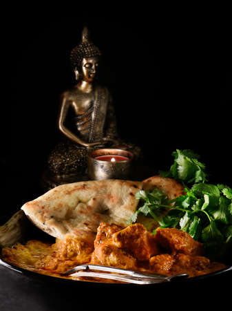 paneer: Creatively lit Indian chicken tikka masala meal with fresh coriander or cilantro herbs against a dark background. Generous accommodation for copy space.