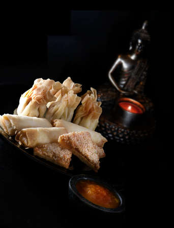 accommodation space: Crispy Chinese dim sun, chicken wontons, vegetable spring rolls, prawn toasts and sweet chilli dip against a dark background with generous accommodation for copy space. Stock Photo